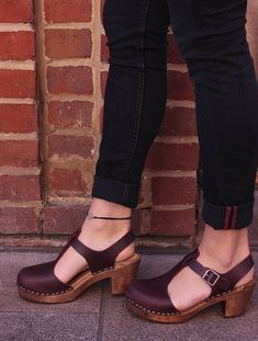 1992d8d7c50427 Classic High Heel Covered Mary Jane Style Clogs From Lotta in TBar Highwood  Aubergine . Classic Scandinavian design made in Sweden using all  Scandinavian ...