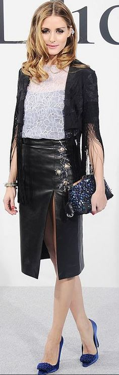 Who made  Olivia Palermo's black leather skirt, crystal clutch handbag, blue satin pumps, and jewelry?
