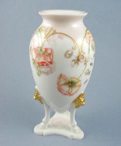 Vintage M Redon Limoges France Hand Painted Florals Vase 3 Hoof Feet Lion Heads #MRedon