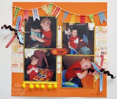 love the banners & other elements 3-Page Birthday Layout