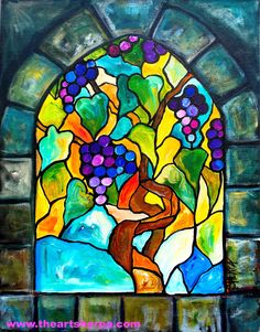 Stained Glass Grapes vine acrylic painting tutorial By the Art Sherpa for the LIVE youtube tutorial