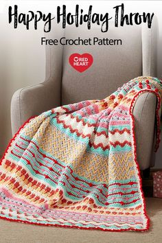 Yarnspirations is the spot to find countless free intermediate crochet patterns, including the Red Heart Happy Holiday Throw. Browse our large free collection of patterns & get crafting today! Holiday Crochet, Crochet Home, Crochet Gifts, Crochet Baby, Free Crochet, Knit Crochet, Crochet Mandala, Double Crochet, Crochet Throw Pattern
