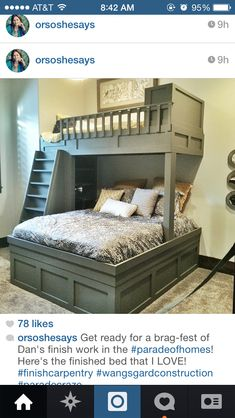 Built-in bunk beds by Fixer-Upper stars, Chip and . - bunk beds by Fixer-Upper stars, Chip and . - You can opt for multifunctional bunk bed Bunk Beds With Stairs, Kids Bunk Beds, Loft Beds, Home Bedroom, Girls Bedroom, Bedroom Ideas, Trendy Bedroom, Bedroom Modern, Bedroom Colors