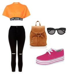 """""""Sporty style"""" by officialesther ❤ liked on Polyvore featuring Heron Preston, New Look, Ganni, orangeoutfit and popsoforange"""