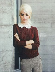 little white collar with cable knit sweater