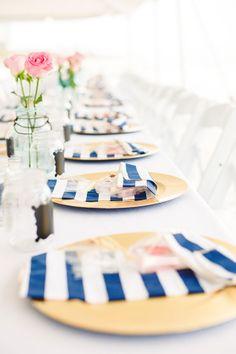 Beach Wedding Decor || Nautical Wedding Place Settings || PHOTO SOURCE • JENNIE TEWELL PHOTOGRAPHY
