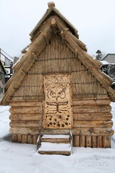 Traditional Ainu 'Chise' House Made of Wood and Thatch and Carved Door in Akan Town, Japan Photographic Print