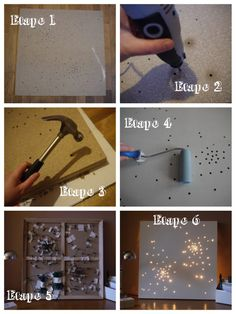 picture frame star Light, Would be awesome to do with your favorite constellation in it, I think it would make more sense to put the canvas part behind the picture frame! Diy Wall Art, Diy Art, Wall Decor, Diy Tableau, Light Up Canvas, Craft Projects, Projects To Try, Ideas Geniales, Light Art