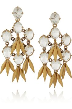 J.Crew|Jeweled Quill gold-plated crystal earrings|NET-A-PORTER.COM