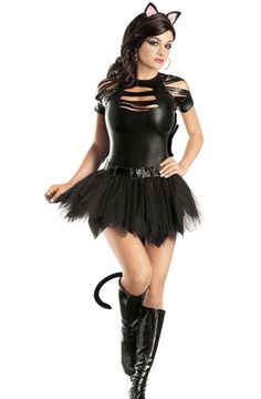 Mean Kitty Plus Size Costume for Halloween - Pure Costumes - Sexy Plus Size Halloween Costume Ideas Hallowen Costume, Sexy Halloween Costumes, Cosplay Costumes, Costume Ideas, Sexy Cat Costume, Halloween City, Women Halloween, Costume Halloween, Kitten Costumes