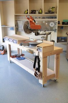 DIY Projects Your Garage Needs -DIY Miter Saw Bench - Do It Yourself Garage Makeover Ideas Include Storage, Organization, Shelves, and Project Plans for Cool New Garage Decor http://diyjoy.com/diy-projects-garage