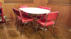 Red And White Retro Dining Table and 6 Chairs #Coaster #Retro1950s