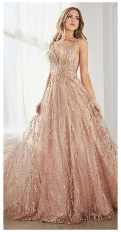 Rose Gold Wedding Dress, Gold Prom Dresses, Pretty Prom Dresses, Tulle Prom Dress, Formal Dresses, Wedding Dresses, Rose Gold Long Dress, Rose Gold Evening Gown, Rose Gold Gown