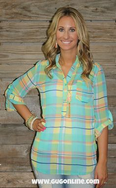 One More Chance Mint Plaid Sheer Blouse $34.95 Small-Large www.gugonline.com