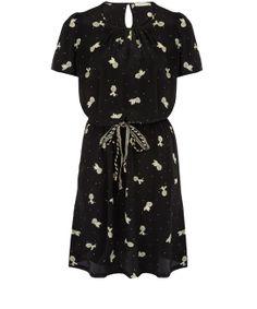 Sessùn Black Pineapple Print Round Neck Dress