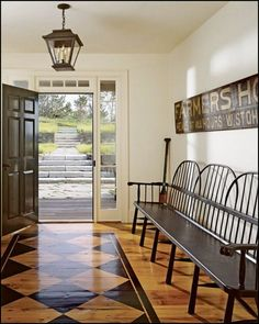 Wonderful Hallway with Stenciled Floor | Content in a Cottage