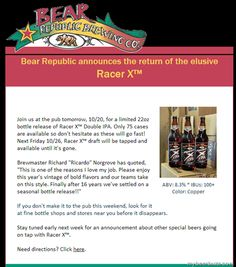 Bear Republic Racer X Returns 10/20