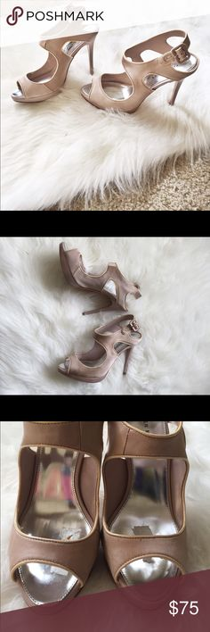 """✨ KAREN MILLEN Blush Satin Cut Out Heels ✨ LIKE NEW Condition • Karen Millen Blush/Nude Cut Out Satin High Heels • size 38 (8) • 4.25"""" heels • has sole cushion tape that I just cannot seem to remove and in order to protect the rest of the integrity of the shoe I haven't tried too hard! I'll leave that for the lucky buyer • SAME DAY / NEXT DAY SHIPPING Karen Millen Shoes Heels"""