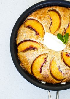 Peaches and cream skillet hotcake - creative ways to use up Christmas leftovers