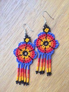 Colourful Huichol Beaded Earrings in by ApapachosJewellery on Etsy