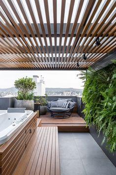 Outdoor Pergola, Outdoor Rooms, Outdoor Living, Outdoor Decor, Hot Tub Backyard, Rooftop Terrace, Roof Design, Outdoor Structures, Instagram
