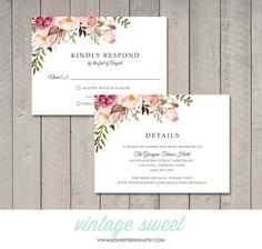 Floral Wedding Invitation RSVP Details Card от vintagesweetdesign