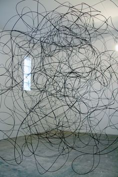 Taken, 6' in diameter, and half empty.half full, room-sized installation, dyed reed, thread