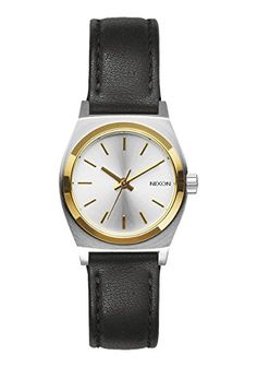 Nixon Small Time Teller Leather Watch Silver/Gold/Black ** Be sure to check out this awesome product.