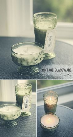 Vintage Glass Candles by The Paper Mama. I'm thinking....Christmas!