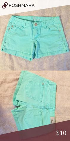 Turquoise Denim Shorts Bright Teal/Turquoise/Aqua Colored Shorts - Size 1 - Silver Button - CP Jeans Brand bought at Compass Compass Shorts Jean Shorts