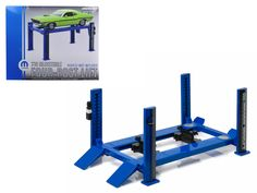 Four Post Lift Mopar Edition Blue and Black For 1/18 Scale Diecast Model Cars by Greenlight - Brand New Four Post Lift Mopar Edition Blue and Black For 1/18 Scale Diecast Model Cars by Greenlight. Raises and lowers. 4 adjustable legs at any height. Stable and perfect for 1:18 collection displays. Adjustable wheel ramps.-Weight: 3. Height: 6. Width: 15. Box Weight: 3. Box Width: 15. Box Height: 6. Box Depth: 12