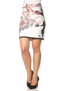 Rock ´´Ciudad Peces´´ in Weiß/ Schwarz/ Rot. Klielanger Damenrock von Culito - bequemer Bund mit Reißverschlussleiste am Rücken - originelles Allover-Muster mit funkelnden Ziersteinen - Saumabschluss mit eingearbeiteten Glitzerfäden - mit rückseitigem Schlitz - angenehm weiches Material - eng anliegend geschnitten - elastische Passform Farbe: weiß/schwarz/rot Material: - 55% Viskose - 40% Baumwolle - 5% Elasthan
