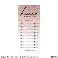 Elegant Rose Gold Hair Chic Price List Rack Card