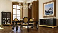 Oro y negro interior | Muebles de comedor en negro y dorado