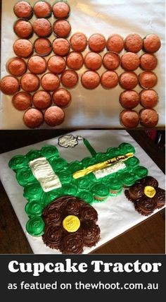 John Deere Tractor Cupcake Cake out of 39 cupcakes Pull Apart Cupcake Cake, Pull Apart Cake, Baby Cakes, Tractor Cupcake Cake, Barnyard Cupcakes, Truck Cupcakes, Farm Animal Cupcakes, Elmo Cake, Cupcakes Decorados