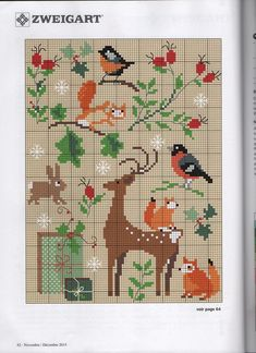 "Photo from album ""Creation Point de Croix - on Yandex. Kawaii Cross Stitch, Tiny Cross Stitch, Cross Stitch Animals, Cross Stitch Charts, Cross Stitch Designs, Cross Stitch Patterns, Cross Stitching, Cross Stitch Embroidery, Embroidery Patterns"