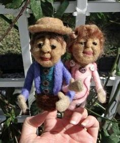 """Needle Felted Finger Puppets (Mr. & Mrs. Buttons) by Trish Veilleux """"I Felt That - Needle Feltings by Trish"""" on Facebook."""