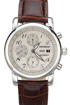 Mens Replica MontBlanc GMT Automatic Stainless Steel Case And Bezel Silver Dial Watch With Brown Croco Leather Strap