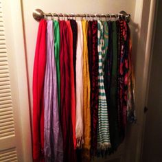 Scarf Storage I need some cool ideas like this for my growing collection of scarves.