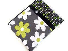 iPad Case, iPad Sleeve, Zipper Cover iPad  Bag- Gray and Chartreuse Daisy with Black Ribbon. $35.00, via Etsy.