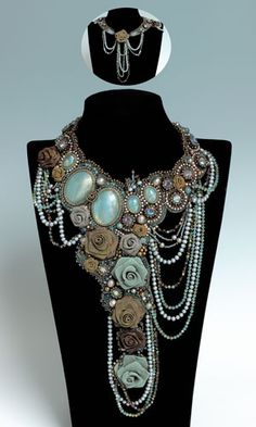 Multi-Strand Necklace with Gemstone Beads and Cabochons, SWAROVSKI ELEMENTS and Fabric Flowers