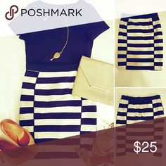 """Navy blue/white stripped H&M pencil skirt, sz 8 Navy blue and white stripped H&M sz 8. Measured flat: 14"""" waist, 20"""" in length. Never been worn. Very little stretch so if you're not a 28"""" waist or smaller, this will most likely not work. Hard to tell that the color is truly navy but it most definitely is. Paired with a navy tee, nude shoes and a long necklace for styling ideas. H&M Skirts Pencil"""