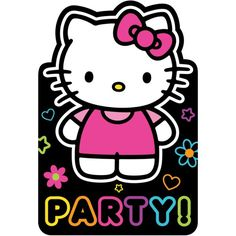 Neon Hello Kitty Invitations 8ct