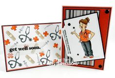 Art Impressions Rubber Stamps: Ai Work and Play: 4899 – Proud Nurse Set... handmade nursing card. Get well soon.