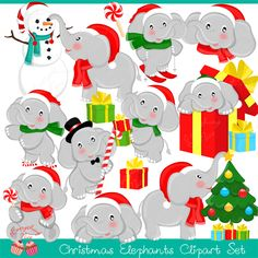 This adorable Christmas Elephants Clipart Set is perfect for your christmas craft projects, also perfect for designing any art projects, paper crafts, scrapbooking, invitations, web design, printables and much more!