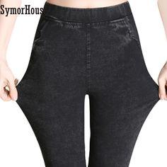 Fashion Big yard 4XL Imitation Jeans Pants Women Elastic Waist High Stretch Leggings Trousers Skinny Pencil Pants Jeans female #Affiliate
