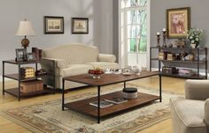 Mikah Burnish Oak Wood Metal Sofa Table