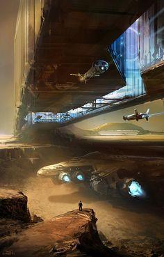 Sci-fi Concept Art: Inner Bridge