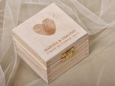 Fingerprint Wood Wedding Ring Bearer Box, Rustic Wooden Ring Box ,  Engraved  Bride and groom names by forlovepolkadots on Etsy https://www.etsy.com/listing/204017287/fingerprint-wood-wedding-ring-bearer-box