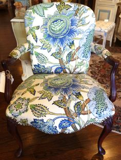 Photo of Verdigreen - Montclair, NJ, United States. My Blue Heaven - redesigned antique Queen Anne chair with oversized botanical blue fabric Dark Wood Kitchens, Wood Home Decor, Chair, Dark Wood Bedroom Furniture, Upholstery Diy, Cherry Wood, Upcycle Chair, Armchair, Wood Beds